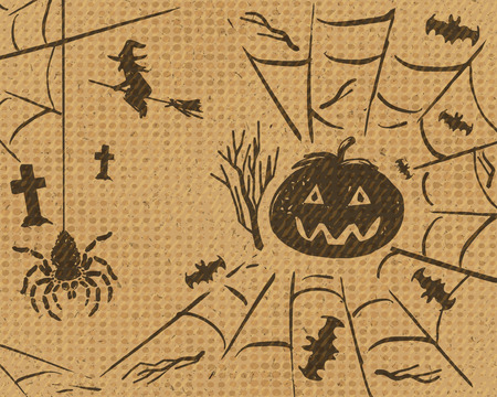 flying witch: Halloween design set of pumpkin, spider on web, bats and flying witch on grunge retro cardboard paper background, vector illustration