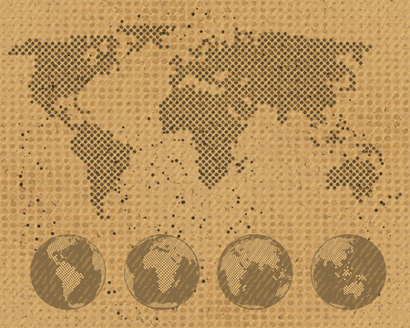 cardboard texture: World map and globes set on cardboard texture, vector template for your paper design