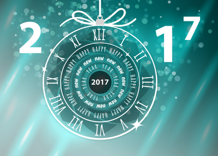 Happy New Year 2017 greeting card, vector illustration, EPS10