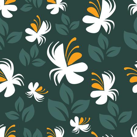 Floral seamless pattern on black, vector illustration, EPS10