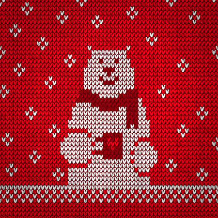 knit: Knitted white bear on red, warm vector illustration