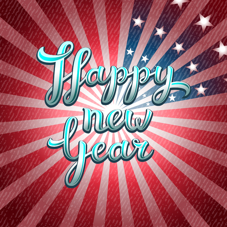 red america: Happy New Year red greeting card of America , lettering, vector illustration for your design Illustration