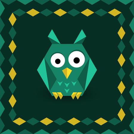 wild mint: Polygonal origami owl Illustration