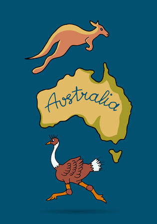 flat earth: Australia continent in doodle style, ostrich and kangaroo, vector illustration for your design