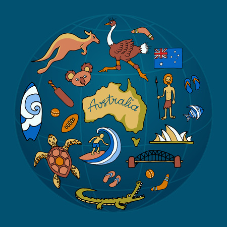 Australian vector doodle set Illustration
