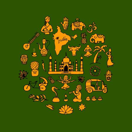 Indian vector icons circle set