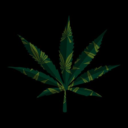 legalize: Marijuana leaf on black, vector illustration for your design.
