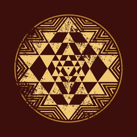 Geometrical pattern mandala in vintage color Illustration