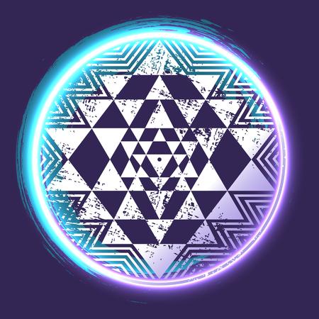 Sri Yantra glowing sacred symbol, vector illustration for your design