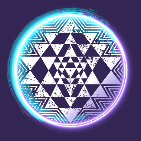 Sri Yantra glowing sacred symbol, vector illustration for your design