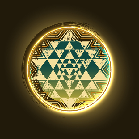 Sri Yantra golden vector symbol