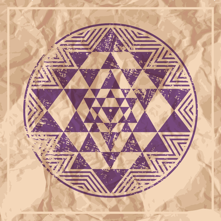 Sri Yantra vector symbol on paper Illustration