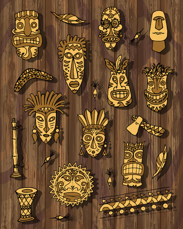 Tribal mask set on wooden background, vector illustration for your design Vettoriali
