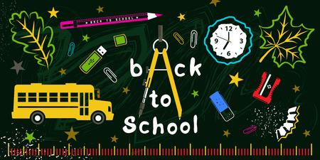 Back to school colorful set on green board, vector illustrtion for your design