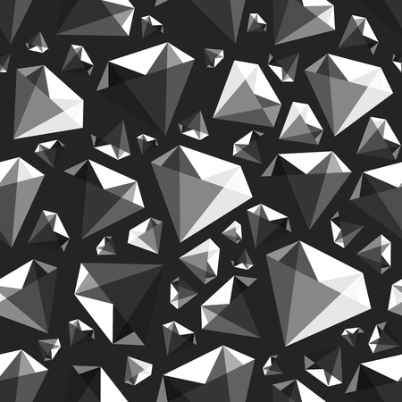 Low poly gem diamond seamless pattern, vector illustration for your design