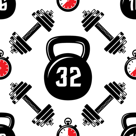 Dumbbells heavy weight seamless pattern, vector sport illustration for your design which can be used like a tile for printing Vector Illustration