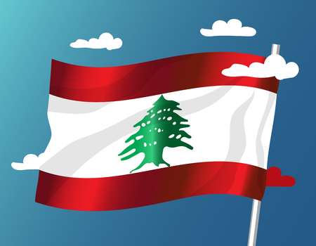 Lebanon waving vector flag with clouds on sky background