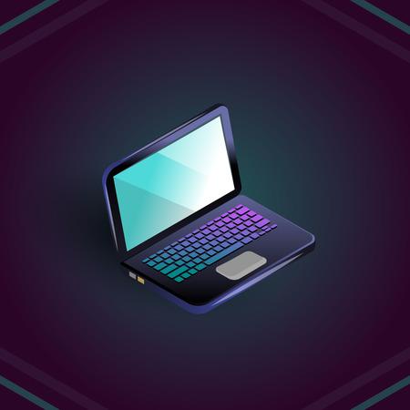 Isometric blank laptop isolated on dark blue, vector illustration
