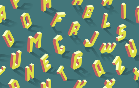 Isometric alphabet seamless pattern, vector abc of 26 letters