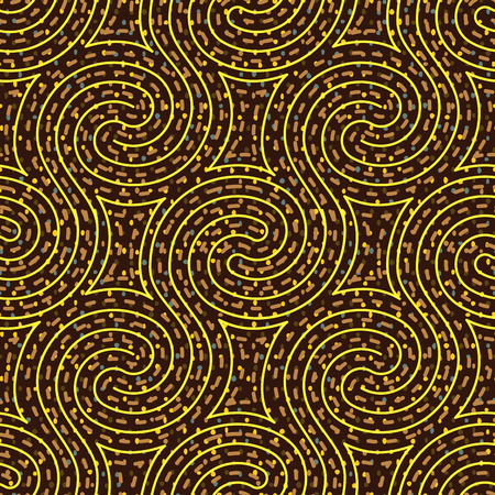 Psychedelic swirl maze seamless pattern, vector illustration Illustration