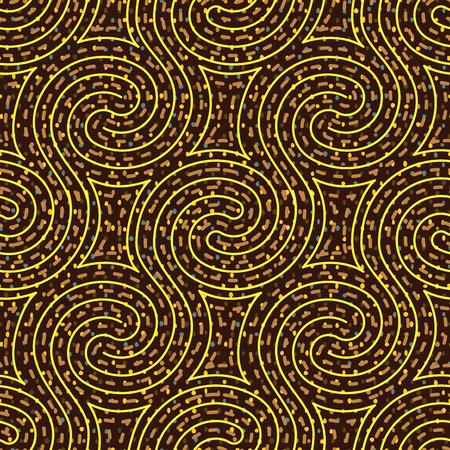 Psychedelic swirl maze seamless pattern, vector illustration Illustration