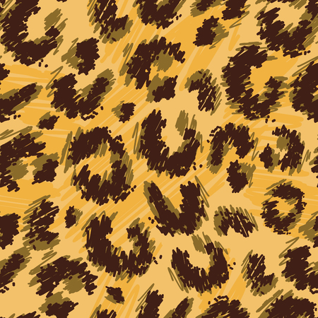 Leopard print seamless vector doodle drawing pattern