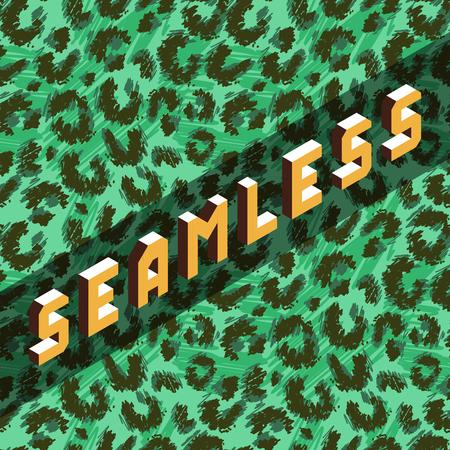 Green color leopard seamless print vector doodle drawing pattern Ilustração