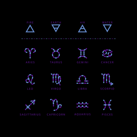 Zodiac signs made of blue stone beads, vector set isolated on black background.