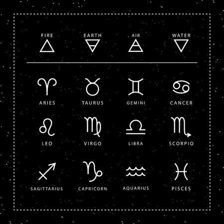 Zodiac signs outline style vector set isolated on space black background.