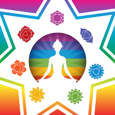 Meditating yoga girl silhouette with chakras signs in shining colorful circle on colorful gradient rainbow background Ilustrace