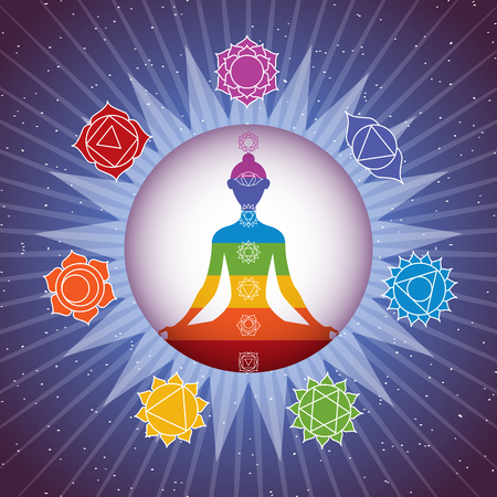 Meditating yoga girl silhouette with chakras signs in shining colorful circle on starry sky background Illustration
