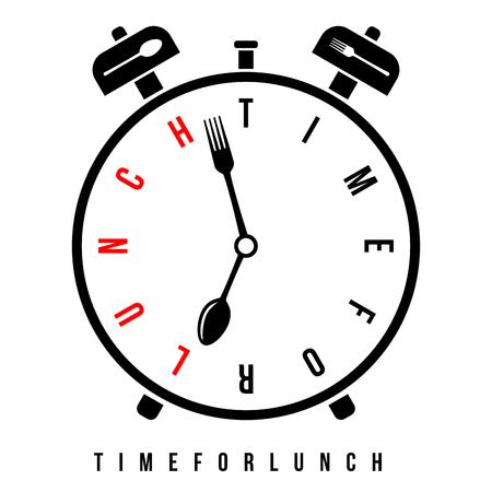 Heure du déjeuner, réveil du petit-déjeuner à 7h. Réveil vectoriel conceptuel avec des aiguilles d'horloge stylisées comme une cuillère et une fourchette