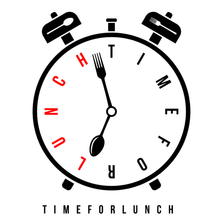 Time for lunch, breakfast alarm at 7 am. Conceptual vector alarm clock with stylized clock hands like spoon and fork Illustration