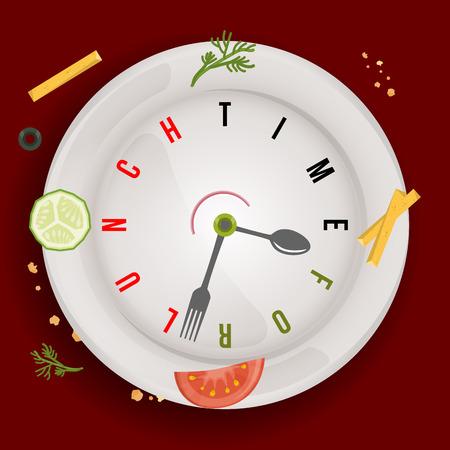 Tiempo para un almuerzo vegano saludable, reloj de vector conceptual con manecillas de reloj estilizadas como cuchara y tenedor y verduras en el plato del restaurante Ilustración de vector