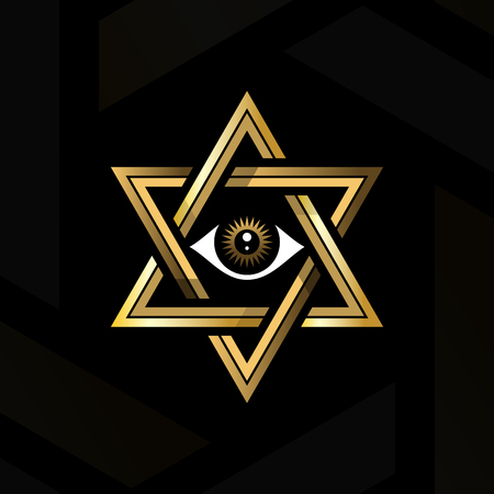 Eye of providence in the center of the hexagram. Sacred geometry or hermeticism. Golden medieval esoteric style vector illustration.
