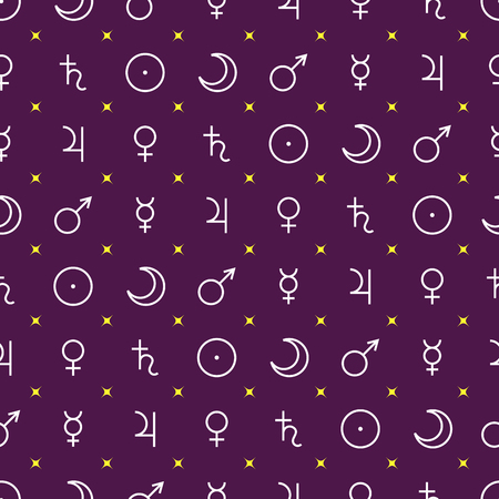 Astrological seamless pattern with planets symbols outline style isolated on purple, vector illustration