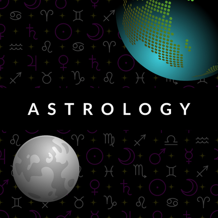 Astrological vector template for horoscope with 3d view of Earth and Moon