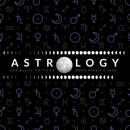 Astrological temlplate for horoscope with Moon, moon phases and seamless pattern of planetary symbols on backdrop Illustration