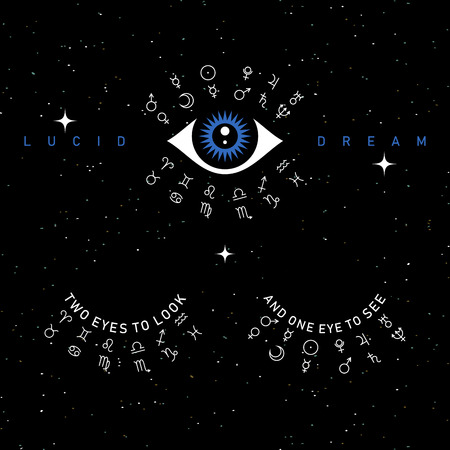 Third eye vector illustration on space background, two eyes to look, one eye to see Ilustrace