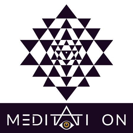 Sri Yantra vector hypnotic symbol for meditation