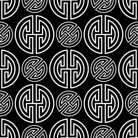 Oriental traditional white chinese seamless vector pattern on black