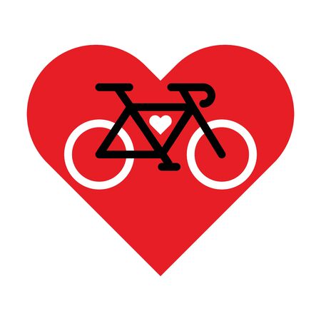 Bicycle lineart icon inside the heart. I love bicycle vector sign. Ilustrace