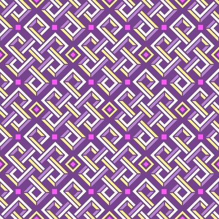 Celtic knot vector 3d seamless pattern of rectangular shapes