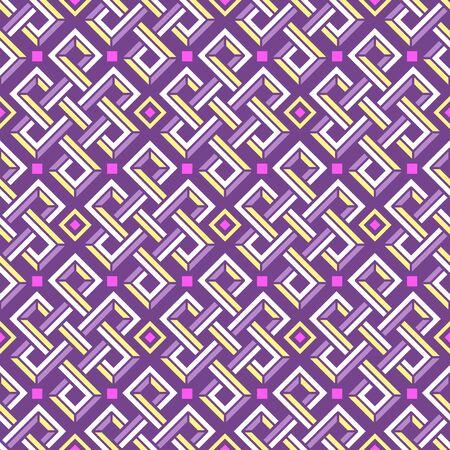 Celtic knot vector 3d seamless pattern of rectangular shapes