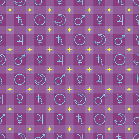 Astrological seamless pattern with planets symbols isolated on purple