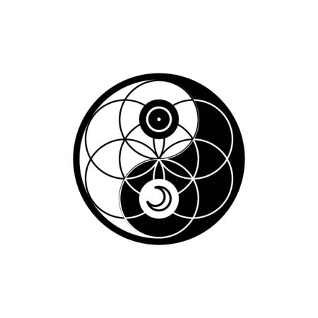 Yin yang with astrological symbols together with flower of life in circle, vector sacred oriental symbol