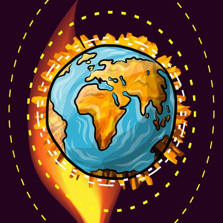 Global warming effect or asteroid explosion of the Earth, vector doodle globe