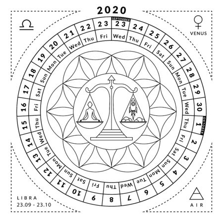 Libra zodiacal coloring book with caledar of year 2020