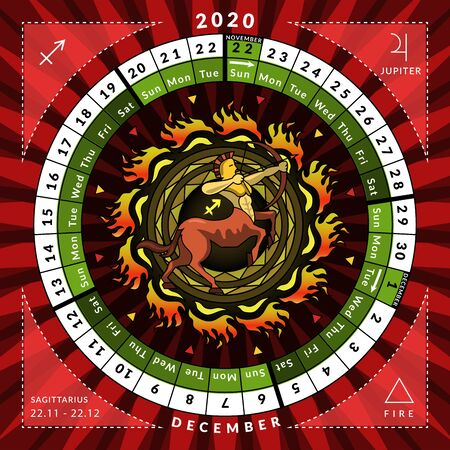 Sagittarius zodiacal circle caledar of year 2020 with features