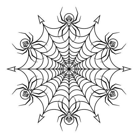 Spider mascot circle vector mandala coloring book